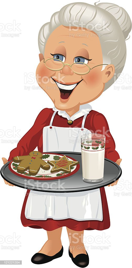 Mrs. Claus with tray of cookies vector art illustration