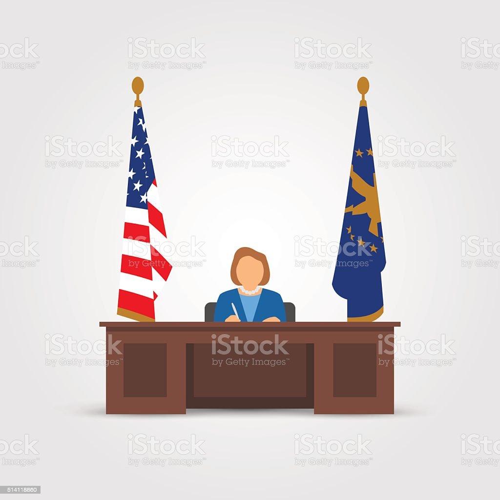 Mrs president in Oval Office vector art illustration