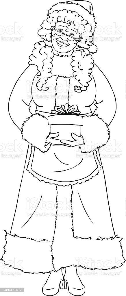 Ilustración De La Sra Santa Claus Sosteniendo Un Regalo De