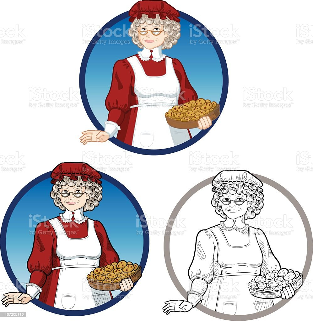 Mother Christmas Cartoon.Mrs Santa Claus Mother Christmas Character Illustration