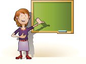Nice teacher explaining on the blackboard.