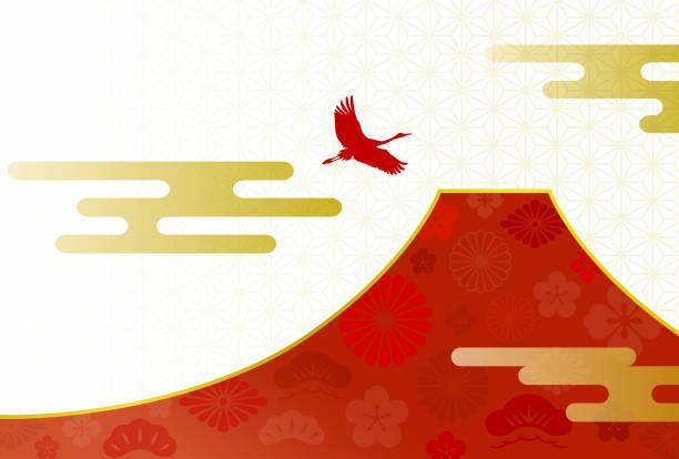 富士山、鶴、伝統模様 - 富士山点のイラスト素材/クリップアート素材/マンガ素材/アイコン素材