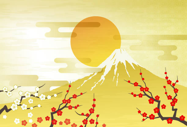 Mt. Fuji, Red and white plum first sunrise Mt. Fuji, Red and white plum first sunrise, gold new years day stock illustrations