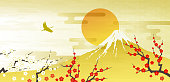 Mt. Fuji, Red and white plum first sunrise, crane, bird, gold
