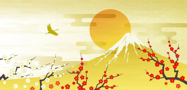 Mt. Fuji, Red and white plum first sunrise Mt. Fuji, Red and white plum first sunrise, crane, bird, gold new years day stock illustrations