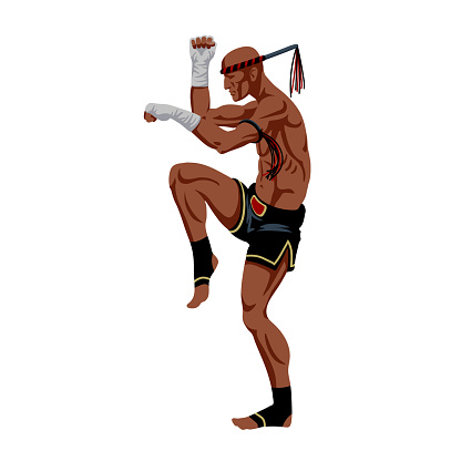 muay thai boxer with a traditional amulet on his hand, an ancient cruel sport, protective stance