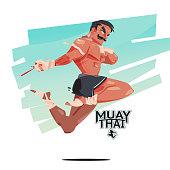Muay Thai sky kick - vector illustration
