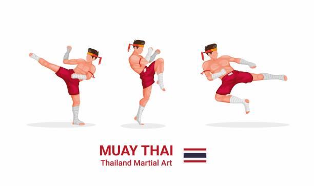 stockillustraties, clipart, cartoons en iconen met muay thai - thai boksen traditionele krijgskunst uit thailand figuur collectie icoon in cartoon platte illustratie vector geïsoleerd in witte achtergrond - kickboksen