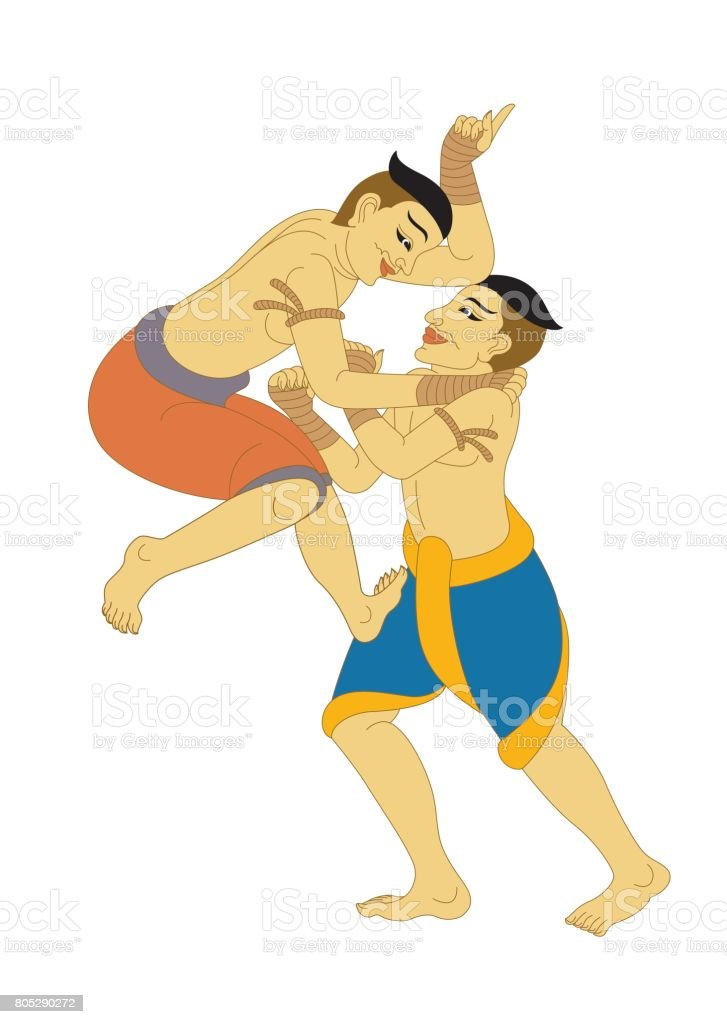 MuayThai, LaiThai Thai Boxing, illustration Thailand vector art illustration