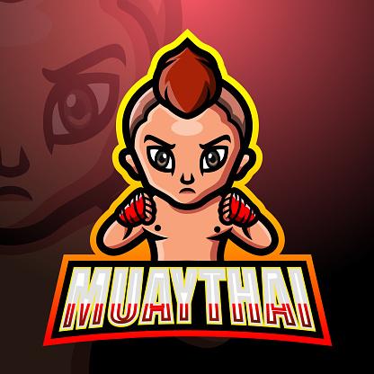 Muaythai mascot esport emblem design