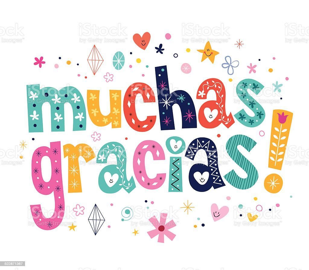 Muchas Gracias Many Thanks In Spanish Stock Vector Art