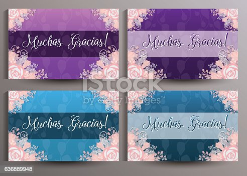 Muchas Gracias Spanish Thank You cards set. The size of card is 12.5x8.0 mm.