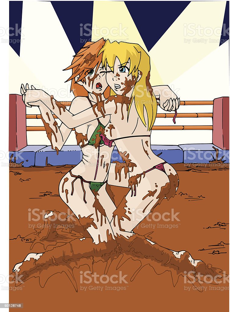 mud fight vector art illustration