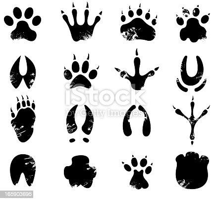 drawing and print of vector muddy footprint symbols.