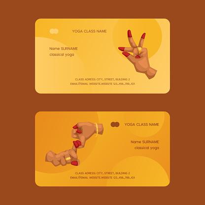 Mudra indian hands vector yoga meditation business-card fingers