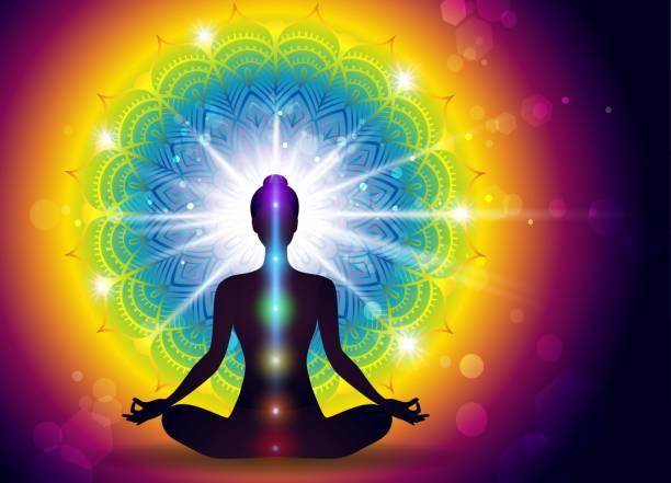 Mudra Yoga Energy Mudra Yoga Energy-Effects And Gradient Mesh-EPS 10 yogi stock illustrations