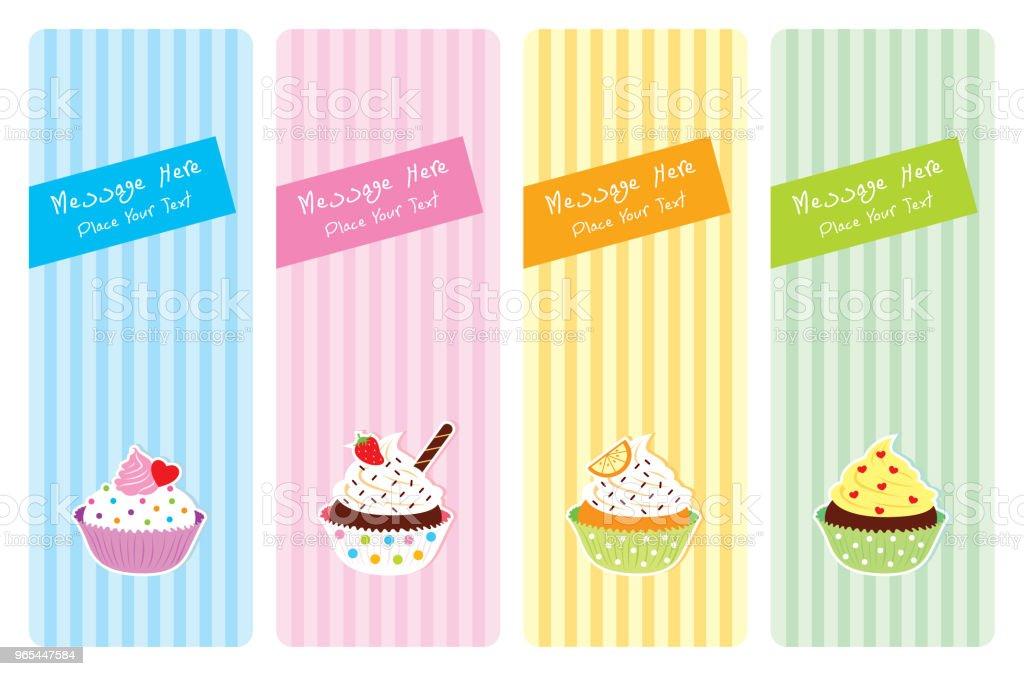 vecteur de carte de voeux de muffin et cupcake - clipart vectoriel de Acclamation de joie libre de droits