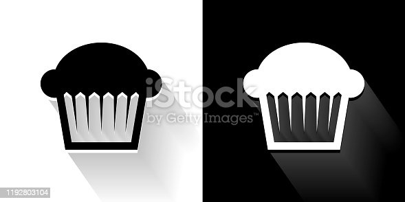 istock Muffin  Black and White Icon with Long Shadow 1192803104