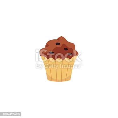 istock Muffin cake with chocolate chips icon, flat vector illustration isolated. 1307425705