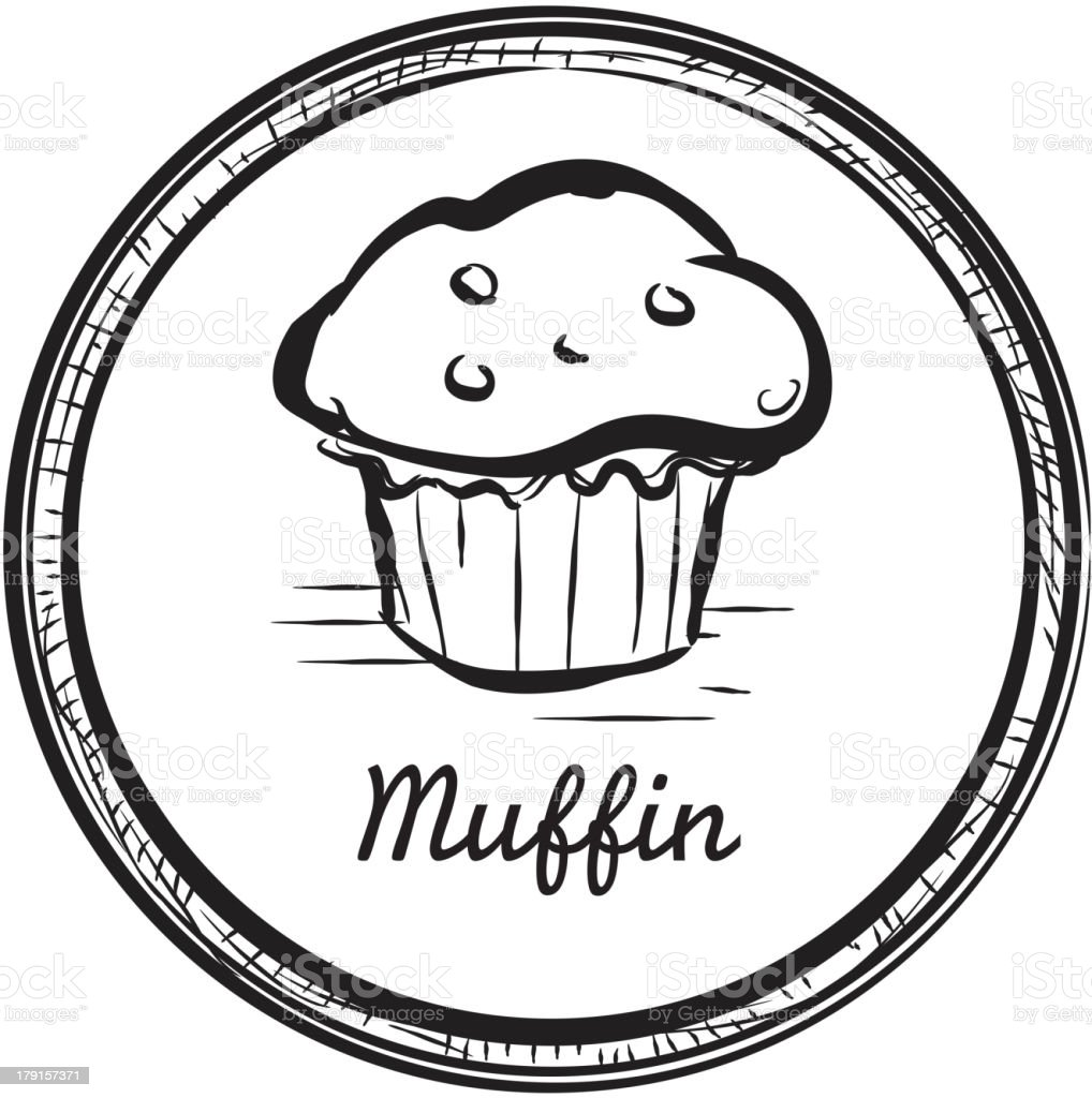 Muffin drawing in a circular frame vector art illustration