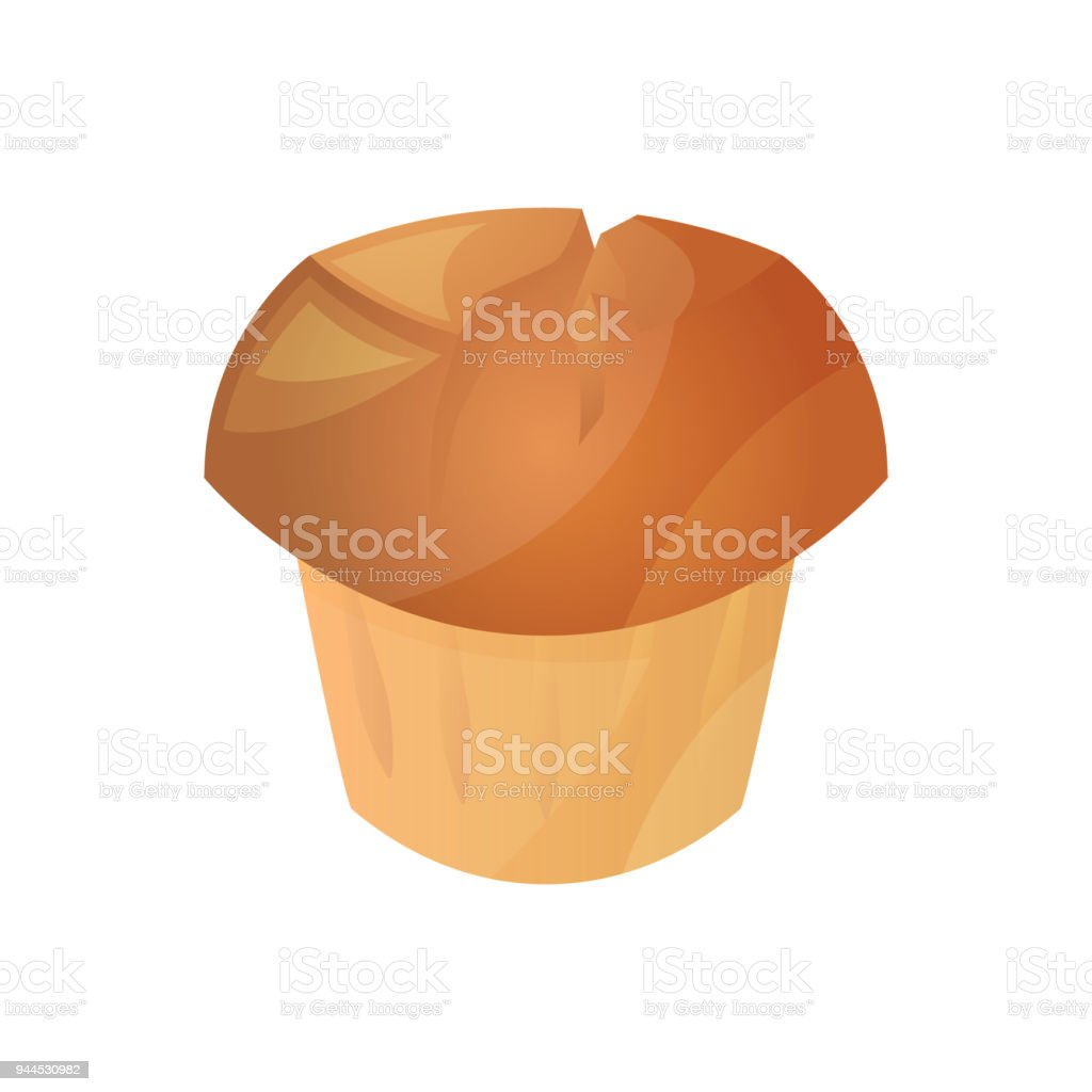 Muffin, homemade pastries, bakery products from the bakery. Icon of muffin isolated on white background. Vector illustration. vector art illustration