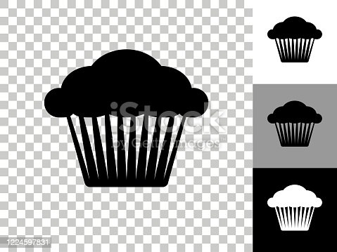 Muffin Icon on Checkerboard Transparent Background. This 100% royalty free vector illustration is featuring the icon on a checkerboard pattern transparent background. There are 3 additional color variations on the right..