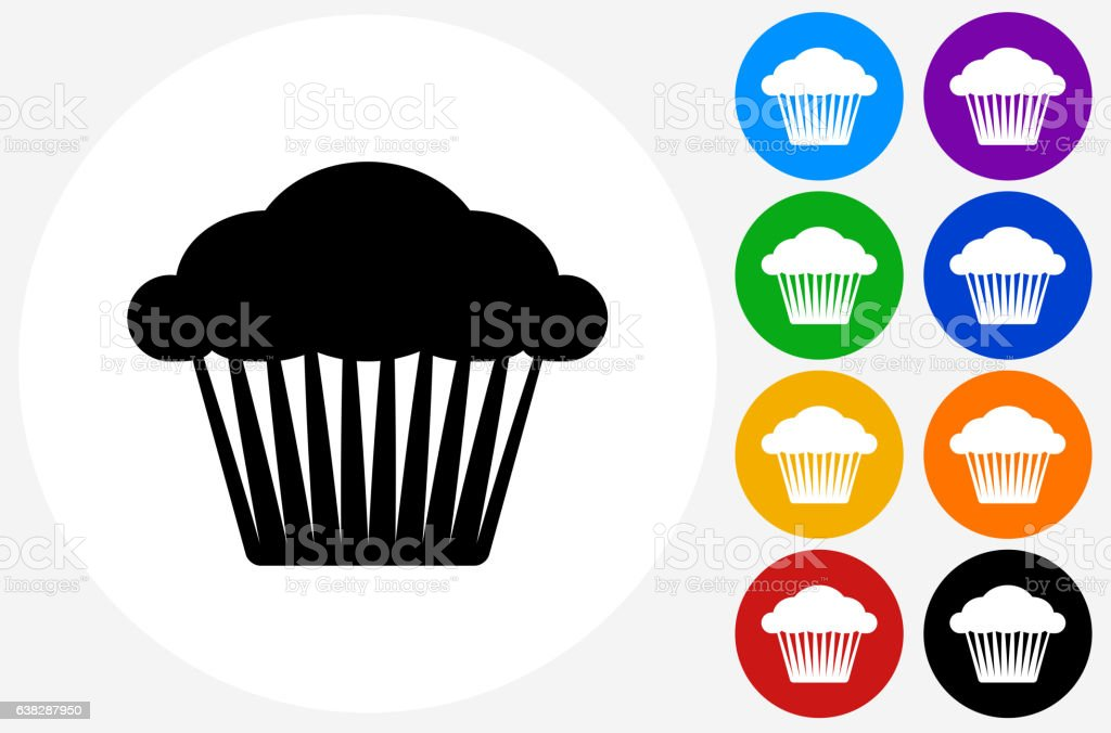 Muffin Icon on Flat Color Circle Buttons vector art illustration