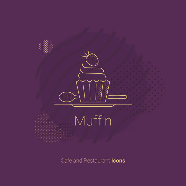 Muffin icon with strawberries for restaurants and cafes. Muffin icon with strawberries for restaurants and cafes. Vector illustration. pastry dough stock illustrations
