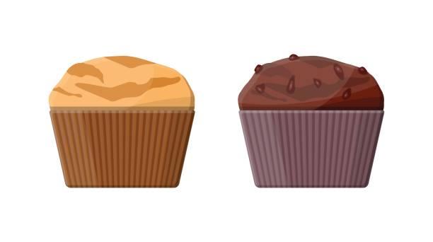 Muffin set. Chcolate and vanilla cupcake. vector art illustration