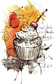 Image shows a muffin in watercolor-style; vectorimage; only one layer including, wihout opening shapes; big jpeg (350DPI); better for white backgrounds!