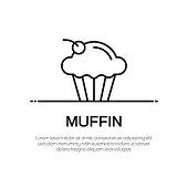 Muffin Vector Line Icon - Simple Thin Line Icon, Premium Quality Design Element