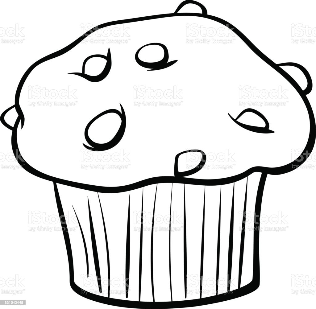 Muffin With Chocolate Coloring Book Stock Illustration ...