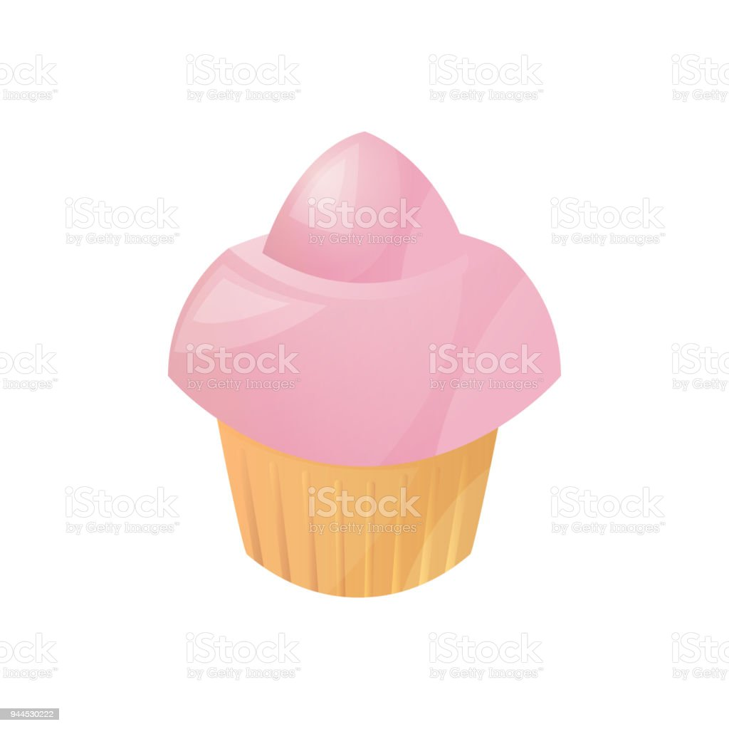 Muffin with pink cream, homemade cakes, bakery products from the bakery. Icon of muffin isolated on white background. Vector illustration. vector art illustration