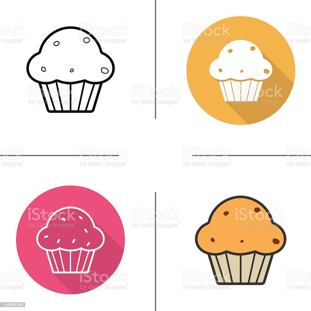 Muffin with raisins icons vector art illustration