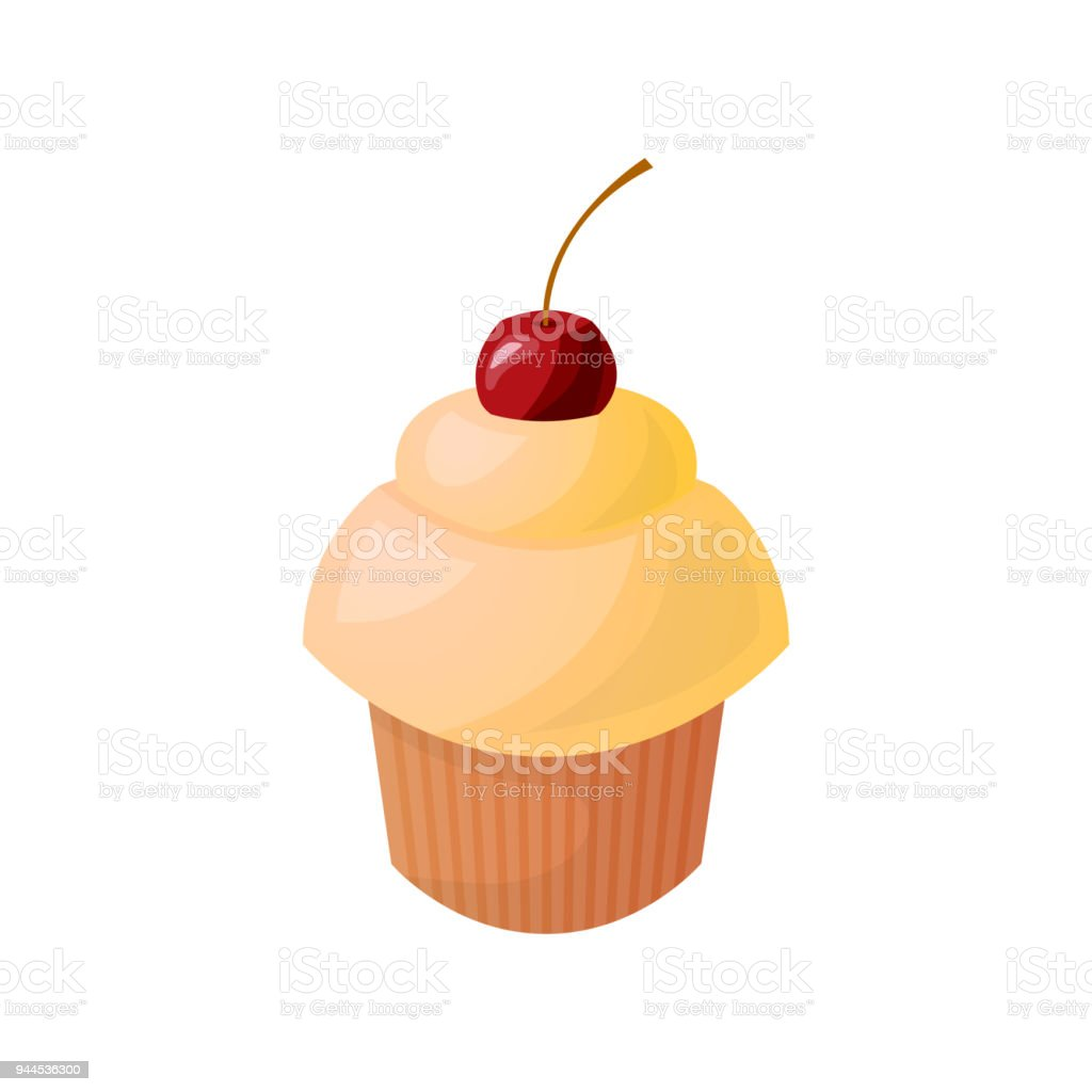 Muffin with vanilla cream and cherries, homemade pastries, bakery products from the bakery. Icon of muffin isolated on white background. Vector illustration. vector art illustration