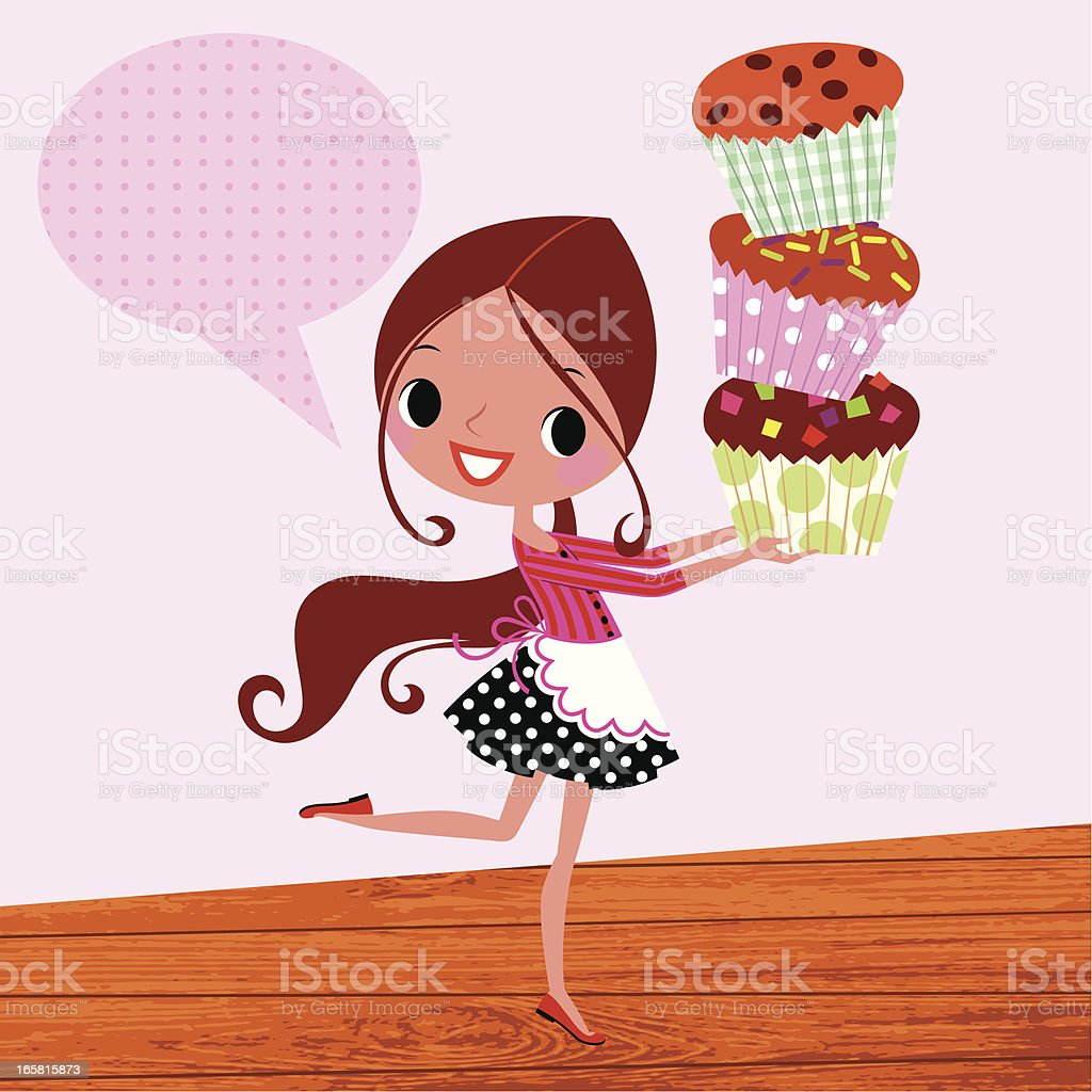 Muffins and Girl. royalty-free muffins and girl stock vector art & more images of adult