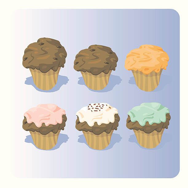 Muffins vector art illustration