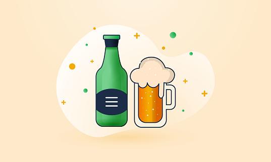 Mug And Bottle of Beer stock illustration