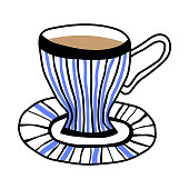 Mug for tea or coffee. Illustration for greeting card, decoration, scrapbooking or other design.
