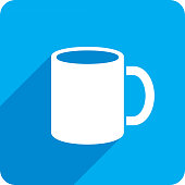 Vector illustration of a blue mug icon in flat style.