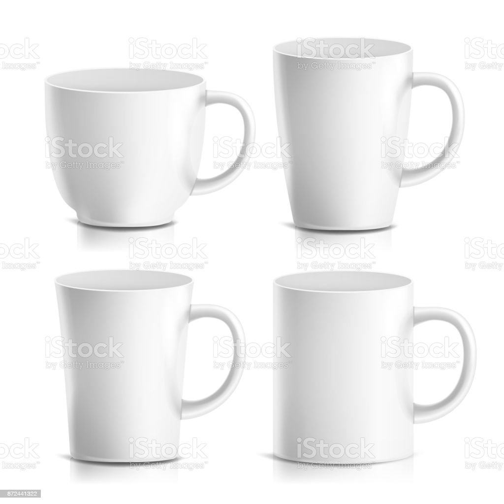 Mug Mock Up Set Vector. Realistic Ceramic Coffee, Tea Cup Isolated. Classic Cafe Cup Illustration. Good For Branding, Corporate Identity royalty-free mug mock up set vector realistic ceramic coffee tea cup isolated classic cafe cup illustration good for branding corporate identity stock illustration - download image now