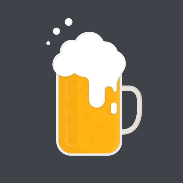 Mug of beer. Beer mug with a lot of foam. Vector icon. Flat design. Mug of beer. Beer mug with a lot of foam. Vector icon isolated on dark background. Flat design. beer stock illustrations