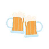 Mug of beer. Element for St. Patrick s Day. Cartoon illustration for pub invitation, t-shirt design, cards or decor