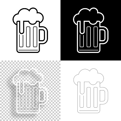 Mug of beer. Icon for design. Blank, white and black backgrounds - Line icon