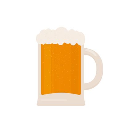 Mug of beer isolated on white. Traditional Bavarian beer festival Oktoberfest. Flat vector icon. Easy to edit template for logo design, poster, banner, flyer, t-shirt, invitation, sticker, etc.