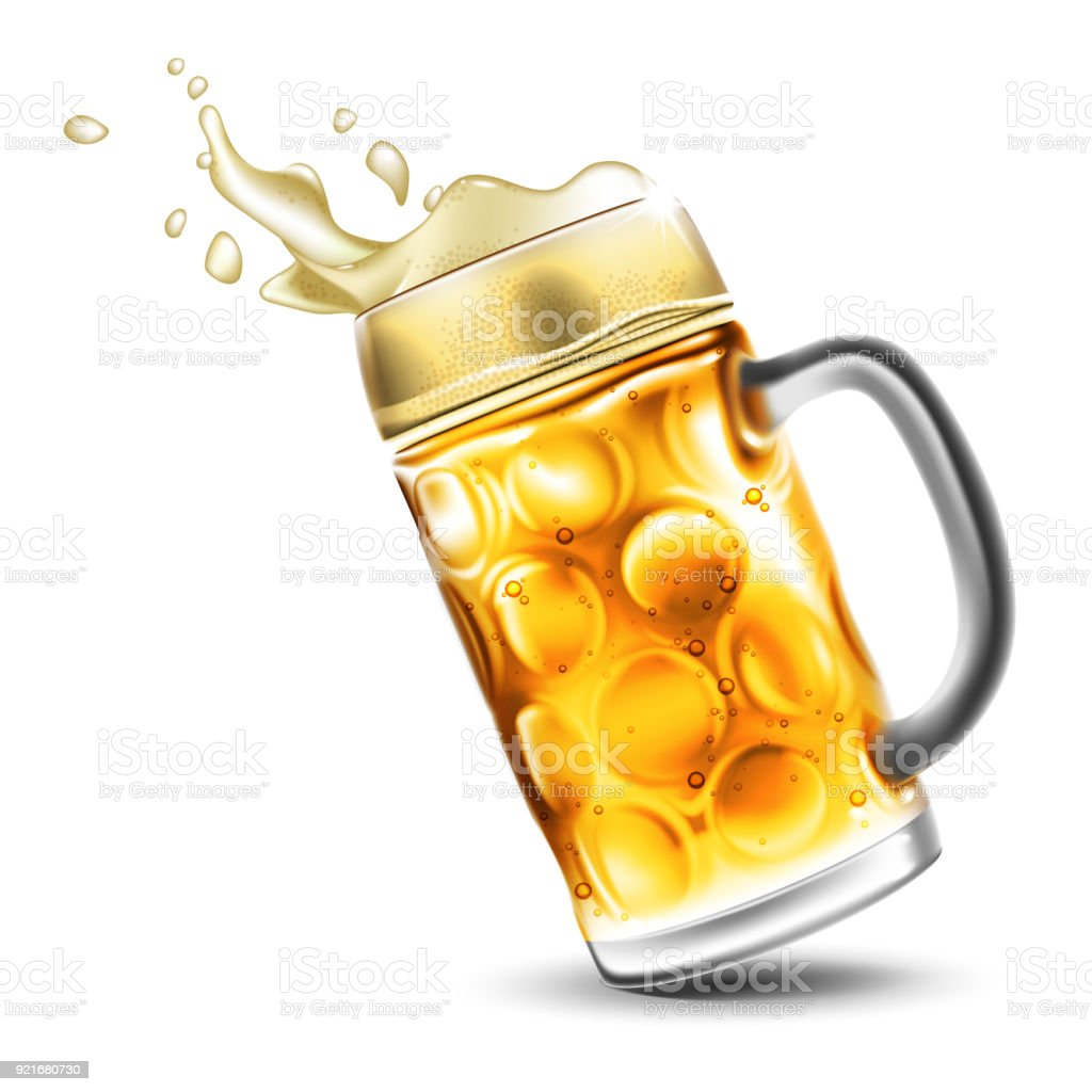 A mug of beer with a foamy splash. Very realistic illustration with the effect of transparency. vector art illustration