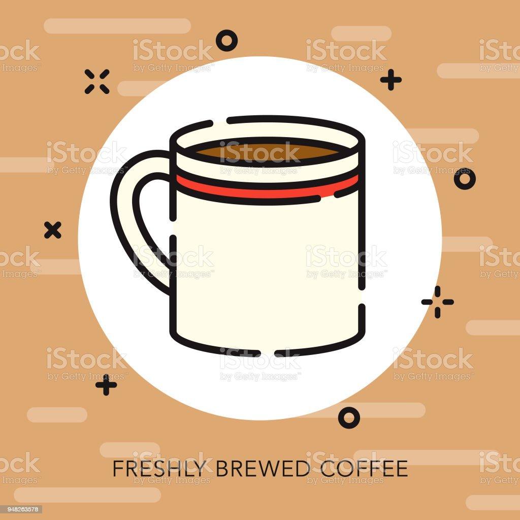 Mug Open Outline Coffee & Tea Icon vector art illustration