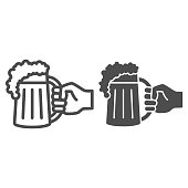 istock Mug with beer in hand line and solid icon, Oktoberfest concept, Hand with drink sign on white background, Arm holding glass of beer icon in outline style for mobile and web design. Vector graphics. 1280988683