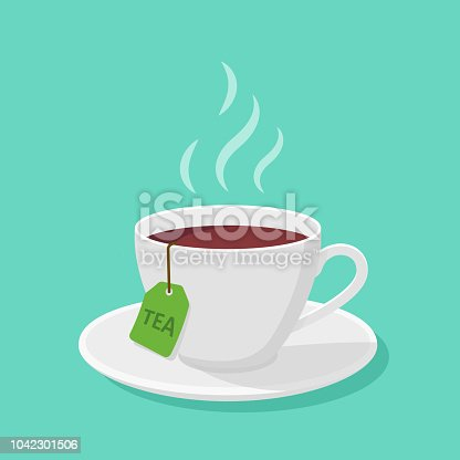 istock Mug With tea and steam in a flat style - vector clipart. 1042301506