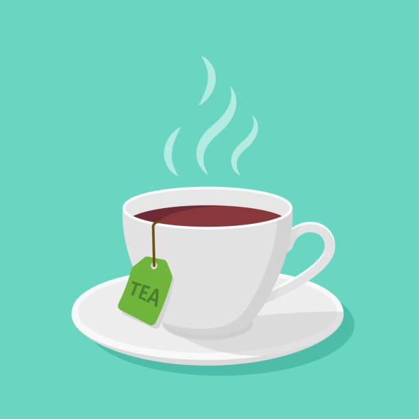杯與茶和蒸汽在平面風格-向量剪貼畫。 - 杯 幅插畫檔、美工圖案、卡通及圖標
